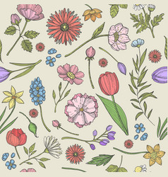 Flowers and plants pattern seamless background vector