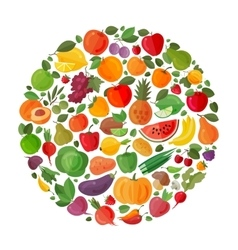Fruit and vegetable circle on a white vector