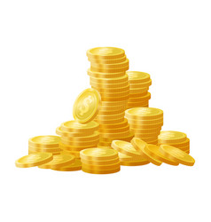 golden shiny coins pile stack vector image