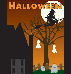 Halloween witch haunted house scene vector