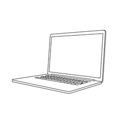 hand drawing a laptop perspective view vector image