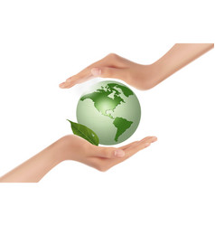 Hands holding green globe vector