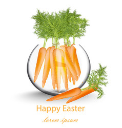 happy easter card with carrots in a glass pot vector image