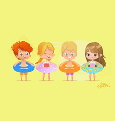 Happy kids birthday time on swimming pool vacation vector