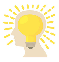 Head with bulb icon cartoon style vector