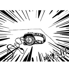 Headphones drawing black and white vector image