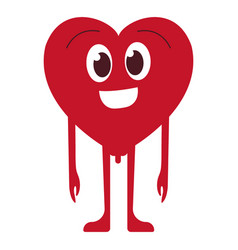 heart shaped smiley flat colored icon vector image
