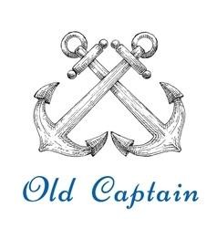Heraldic sketch of crossed nautical anchors vector