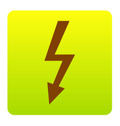 high voltage danger sign brown icon at vector image