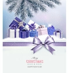 Holiday Christmas background with presentsand a vector image