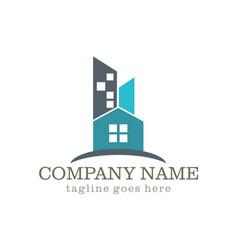 Home building cityscape company logo vector