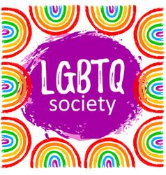 lgbtq society with rainbow vector image