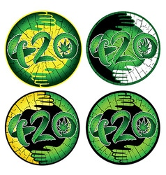 Marijuana symbolic 420 text design green stickers vector image
