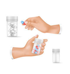 medicines in small plastic bottles and human hands vector image