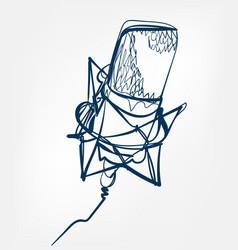 microphone sketch line design vector image