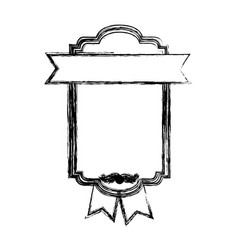 monochrome sketch with heraldic rectangle and vector image