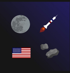 National moon day flat collection vector