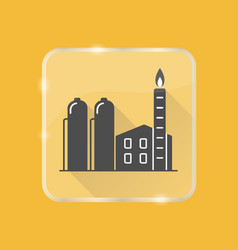 natural gas plant silhouette icon in flat style on vector image
