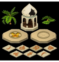 Oriental theme with gazebo and signs of the zodiac vector