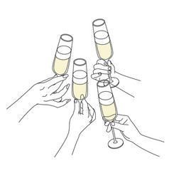 People drinking champagne vector