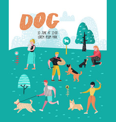 People training dogs in the park dog poster vector