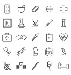 pharmacy line icons on white background vector image