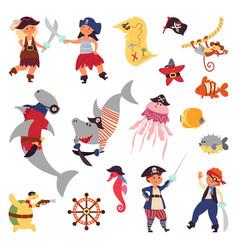 pirates life sea wildlife ocean plants cartoon vector image