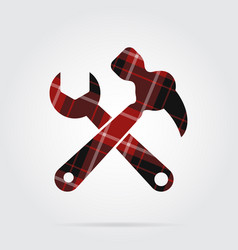 Red black tartan icon - claw hammer with spanner vector