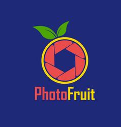 Red shutter lemon photography logo design template vector
