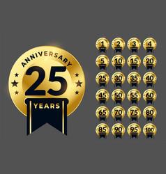 Royal anniversary logotype golden emblem big set vector