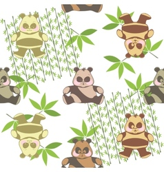 Seamless background from a different funny pandas vector