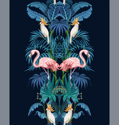 seamless border with jungle trees flamingo and vector image