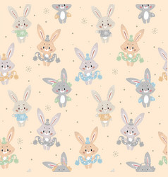 seamless pattern with cute bunny in scarf and hat vector image
