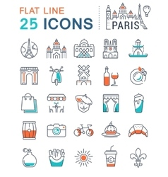 Set Flat Line Icons Paris and France vector