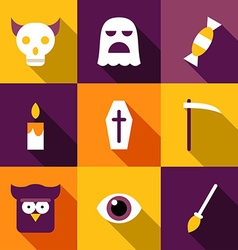 Set of Flat Design Halloween Coffin Ghost Owl Eye vector