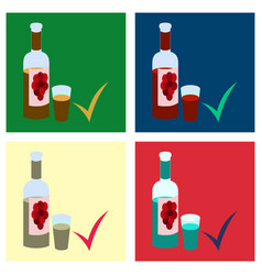 Set of flat wine bottle it can serve as a layout vector