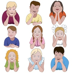 Set of nine young children leaning on they elbows vector
