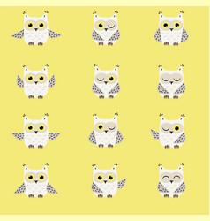 Set of white polar owls vector