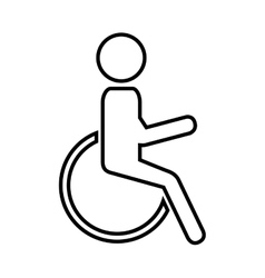 Silhouette person in wheelchair vector