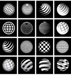 Sixteen Globes in Black and White vector image