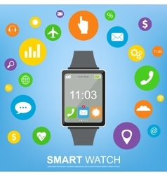 Smart watch new technology electronic device with vector