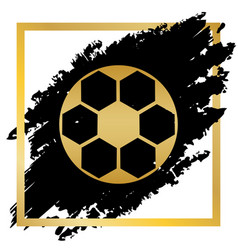 soccer ball sign golden icon at black vector image