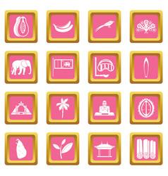 sri lanka travel icons pink vector image