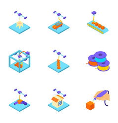 Stamp icons set isometric style vector