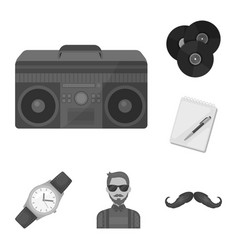 Style hipster monochrome icons in set collection vector