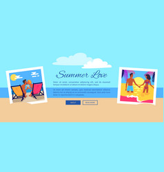 Summer love photos near text vector