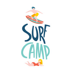 surfing guys in ocean surf camp lettering vector image