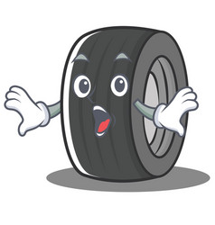 Surprised tire character cartoon style vector