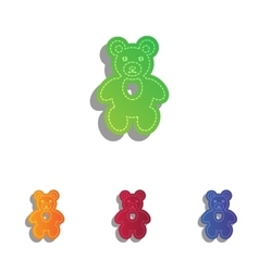 Teddy bear sign Colorfull applique vector image
