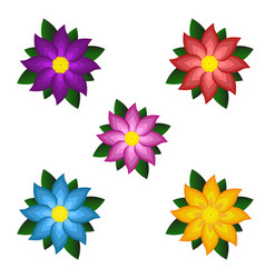 templates bright colored stylized flowers vector image